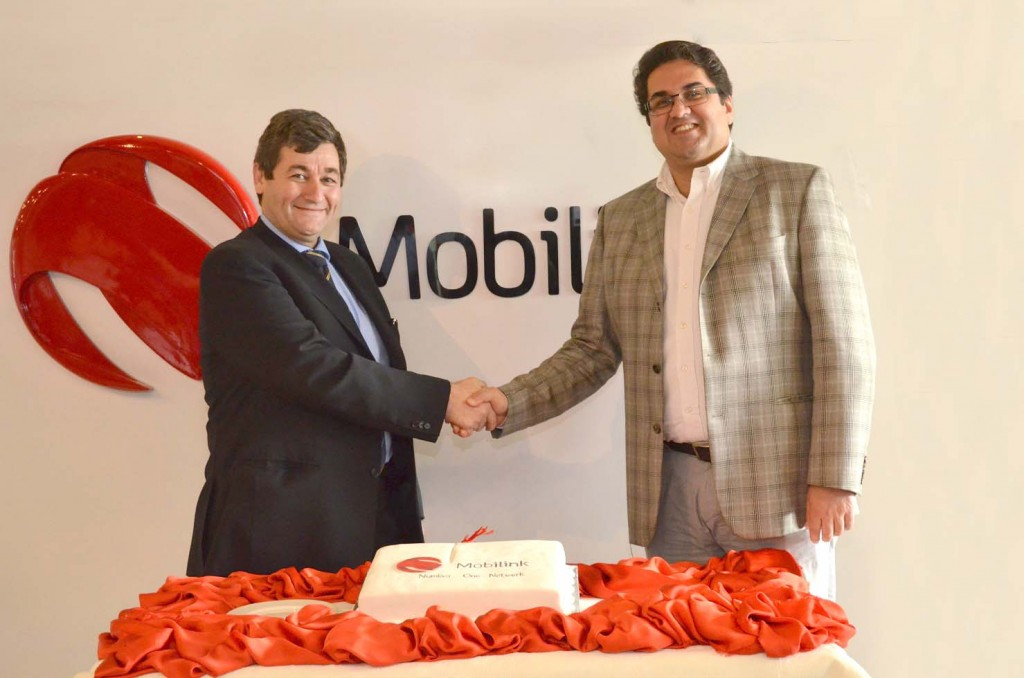 Bilal Munir Sheikh, Chief Commercial Officer Mobilink and Gabriele Sgariglia , Chief Technological Officer Mobilink at the 3G-ready network ceremony